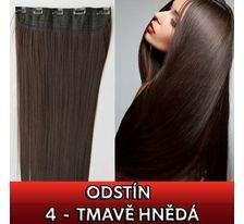 Clip in vlasy - 60 cm dlouhý pás vlasů - odstín 4 - tmavě hnědá SVĚTOVÉ ZBOŽÍ