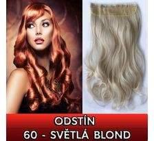 Clip in pás - lokny 55 cm - odstín 60 - světlá blond SVĚTOVÉ ZBOŽÍ