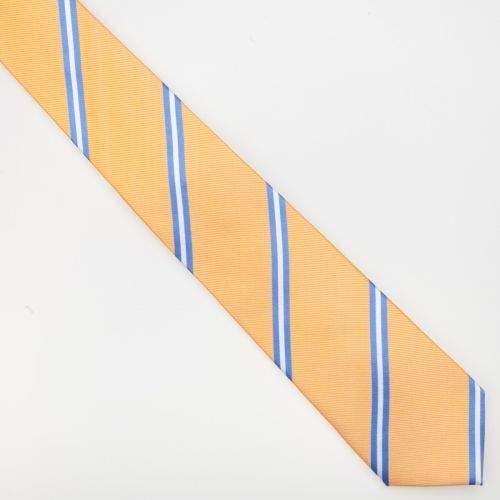 SmartMen Česká republika žlutá kravata s modrým a bílým proužkem