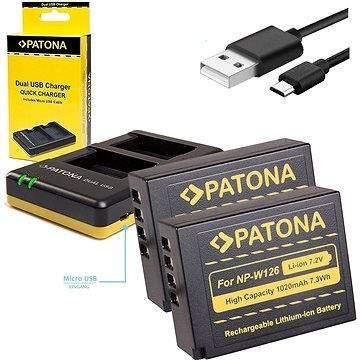 PATONA Foto Dual Quick Fuji NP-W126 + 2x baterie 1020mAh