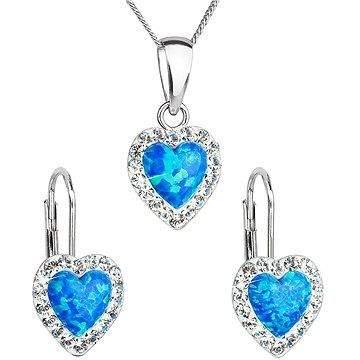 EVOLUTION GROUP 39161.1 modrý synt. opál souprava dekorovaná krystaly Swarovski® (925/1000, 2 g)