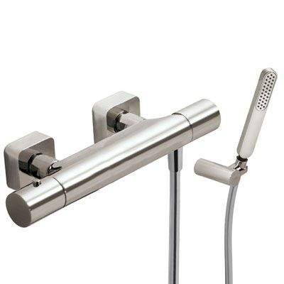 TRES Termostatická sprchová baterieRuční sprcha s nastavitelným držákem, proti usaz. vod. kamene a flexi hadice SATIN. 20016409AC