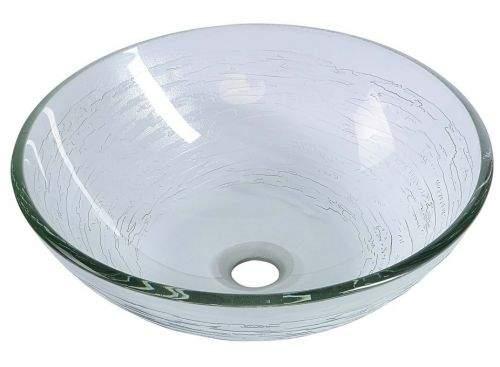 SAPHO RIPPLE skleněné umyvadlo průměr 42 cm, čirá s motivem 2501-18