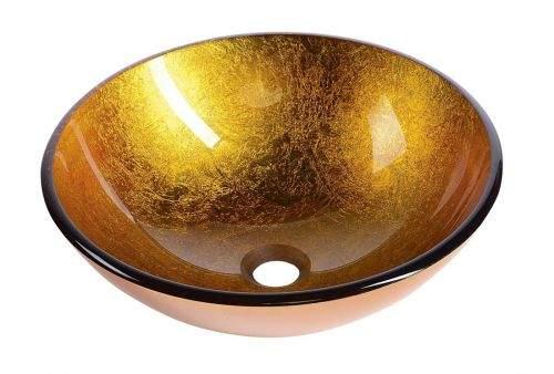 SAPHO AGO skleněné umyvadlo průměr 42 cm, zlatě oranžová 2501-19