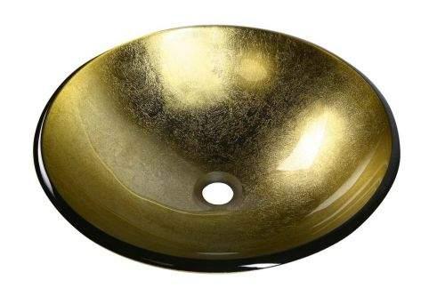SAPHO SHAY skleněné umyvadlo průměr 42 cm, zlatá 2501-22