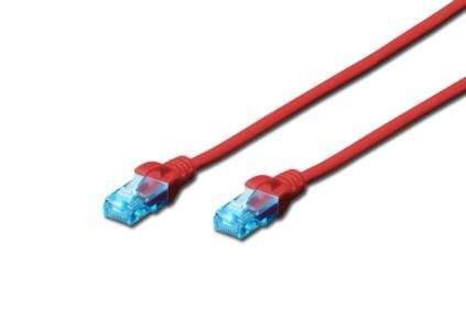 Digitus Ecoline Patch Cable, UTP, CAT 5e, AWG 26/7, červený 10m, 1ks