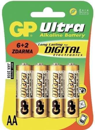GP Batteries GP AA Ultra alkalická - 8 ks (6 + 2 ks ZDARMA)