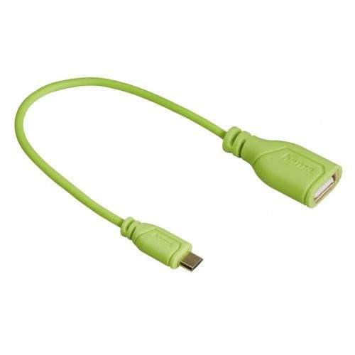 Hama spol s r.o. Hama micro USB OTG redukce Flexi-Slim, oboustranný konektor, 15 cm, zelená