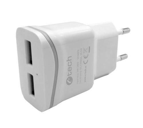 C-TECH nabíječka USB UC-03, 2x USB, 2,1A, bílá