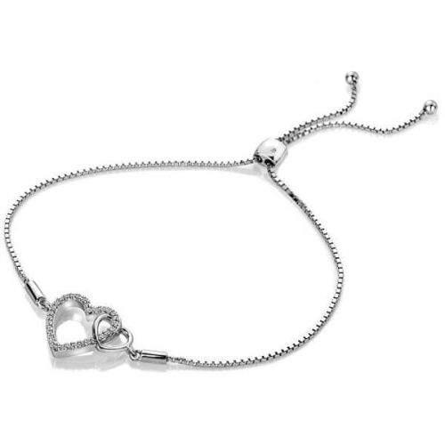 Hot Diamonds Stříbrný náramek s pravým diamantem Flora DL589