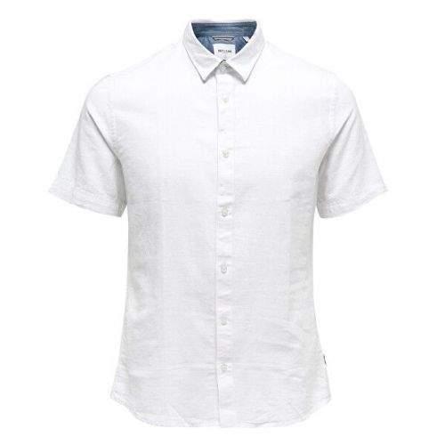 ONLY&SONS Pánská košile Caiden SS Linen Shirt Re White (Velikost S)