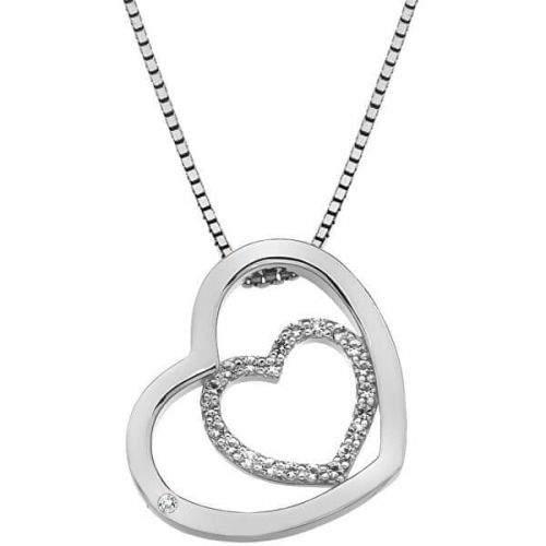 Hot Diamonds Stříbrný srdíčkový náhrdelník Adorable Encased DP691 (řetízek, přívěsek) stříbro 925/1000