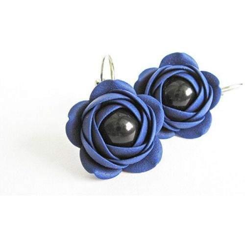 Troli Modré visací náušnice s černou perličkou Estrela kytičky