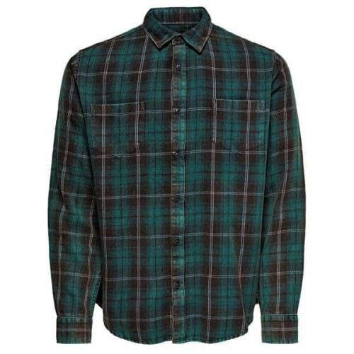 ONLY&SONS Pánská košile ONSOLSEN LS YD ACID WASH CHECK REG SHIRT Forest Night (Velikost S)