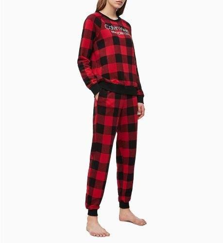 Calvin Klein Dámské tepláky QS6302E-5VJ černočervená - Calvin Klein černo-červená XS