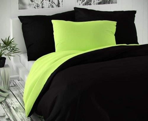 TopProsteradla.cz Saténové francouzské povlečení LUXURY COLLECTION 220x200+2x70x90cm černé / světle zelené