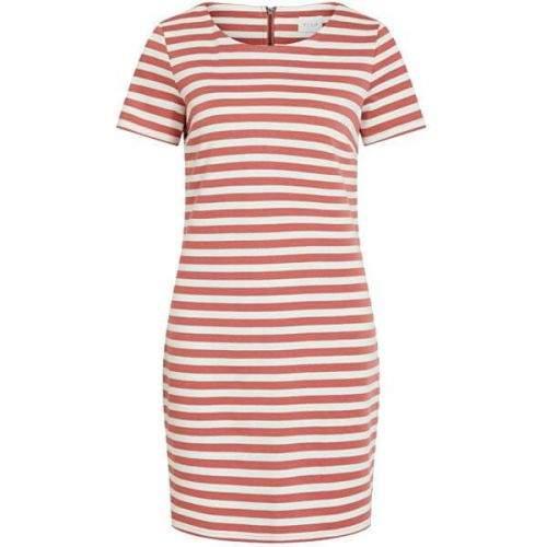 VILA Dámské šaty VITINNY 14032604 Dusty Cedar SNOW WHITE H/H (Velikost XS)