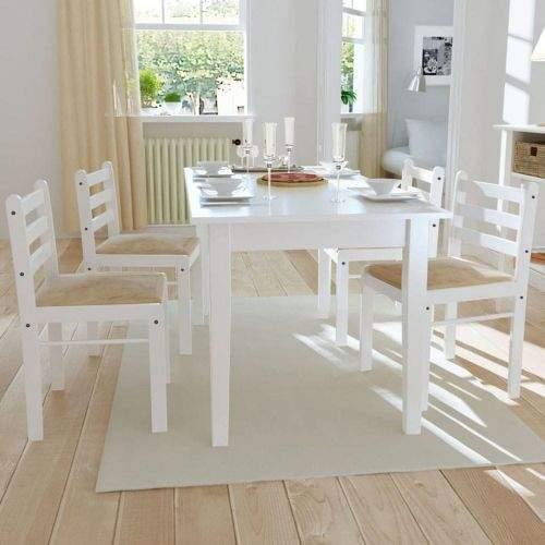 shumee Jídelní židle 4 ks bílé masivní kaučukovníkové dřevo a samet