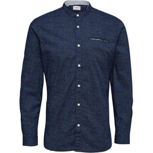 Selected Homme Pánská košile SLHSLIMLAKE SHIRT LS MIX W Dark Sapphire AOP (Velikost S)