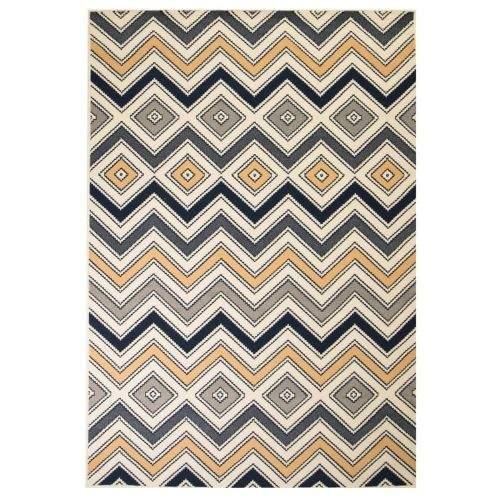shumee Moderní koberec se zigzag vzorem 140 x 200 cm hnědo-černo-modrý