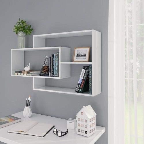 shumee Nástěnné police bílé vysoký lesk 104 x 20 x 60 cm dřevotříska