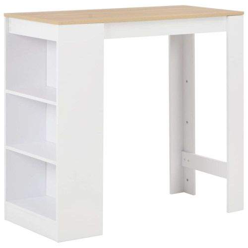 shumee Barový stůl s regálem bílý 110 x 50 x 103 cm