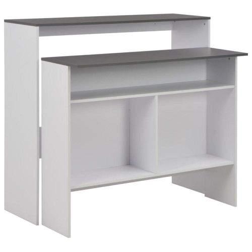 shumee Barový stůl se 2 stolními deskami bílý a šedý 130 x 40 x 120 cm