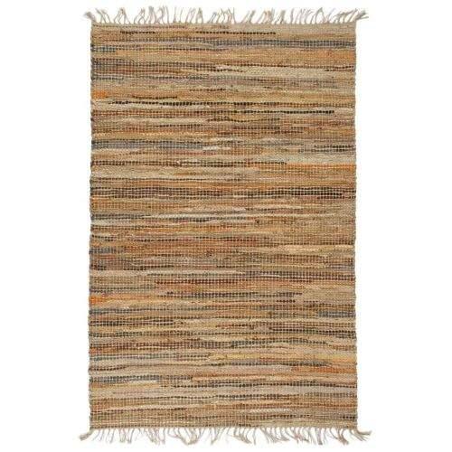 shumee Ručně tkaný koberec Chindi kůže juta 160 x 230 cm bronzový