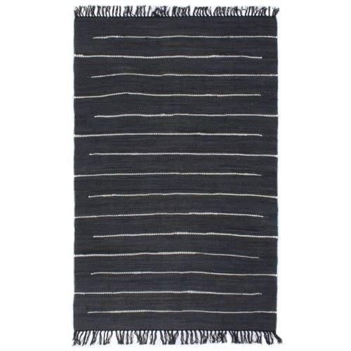 shumee Ručně tkaný koberec Chindi bavlna 200 x 290 cm antracitový