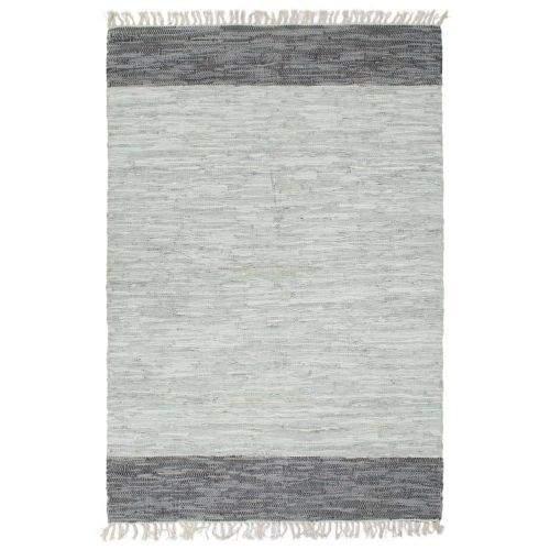 shumee Ručně tkaný koberec Chindi kůže 190 x 280 cm šedý