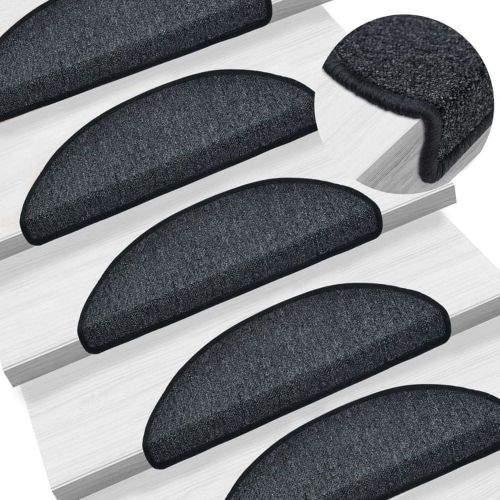 shumee 15 ks Nášlapy na schody antracitové 56 x 17 x 3 cm