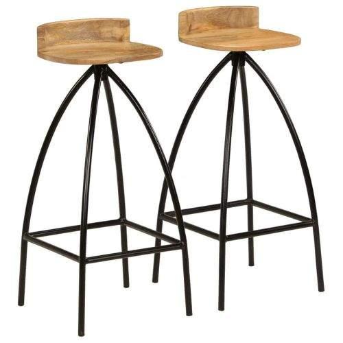 shumee Barové židle 2 ks masivní mangovníkové dřevo