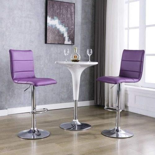 shumee Barové židle 2 ks fialové umělá kůže