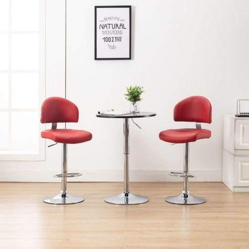shumee Barové stoličky 2 ks vínové umělá kůže