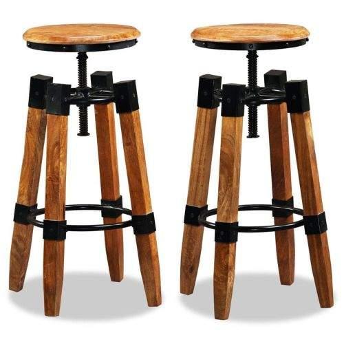 shumee Barové stoličky 2 ks masivní mangovníkové dřevo