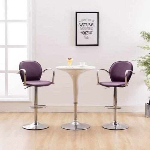 shumee Barová stolička s područkami fialová umělá kůže