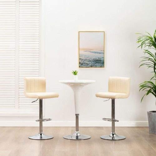 shumee Barové stoličky 2 ks krémové umělá kůže