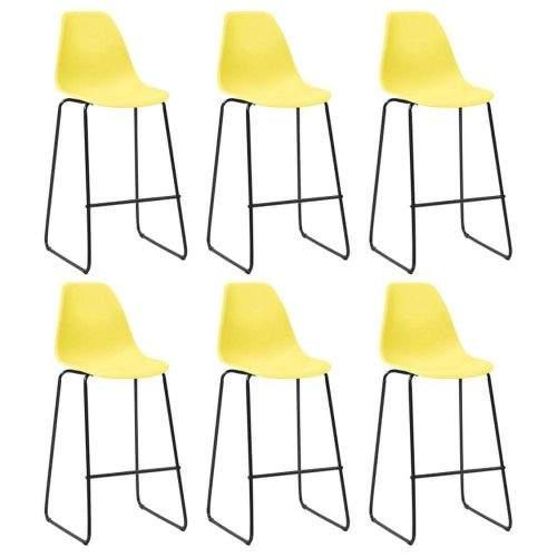 shumee Barové židle 6 ks žluté plast