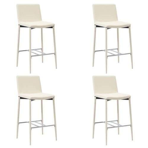 shumee Barové židle 4 ks krémové umělá kůže