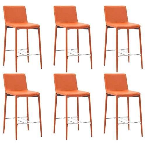 shumee Barové židle 6 ks oranžové umělá kůže