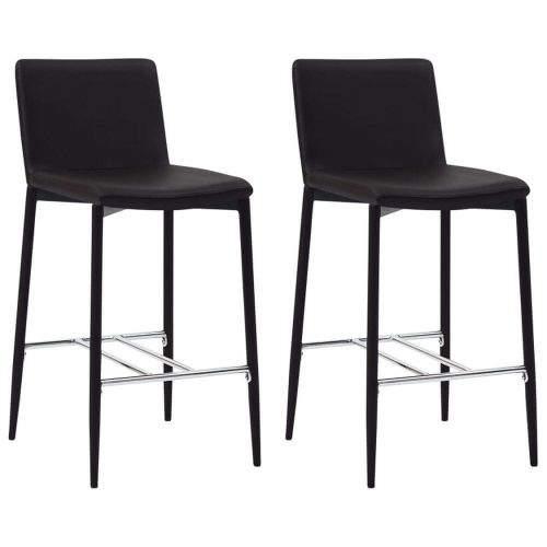 shumee Barové židle 2 ks hnědé umělá kůže