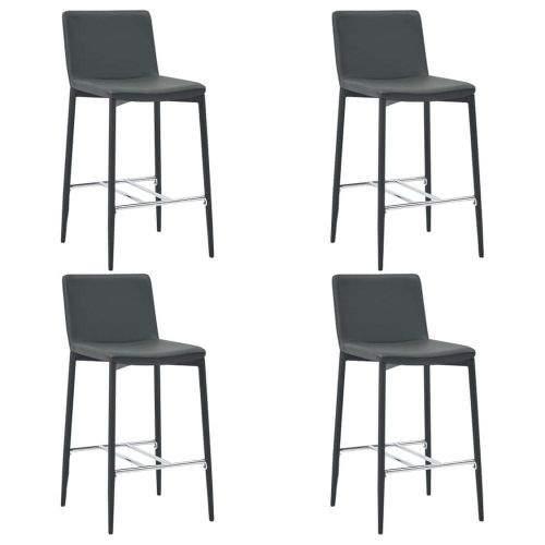 shumee Barové židle 4 ks šedé umělá kůže