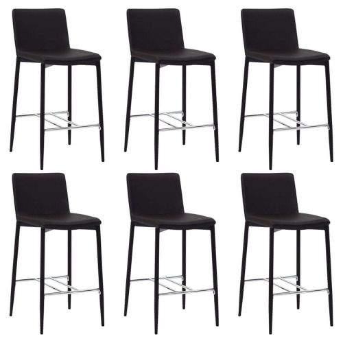 shumee Barové židle 6 ks hnědé umělá kůže