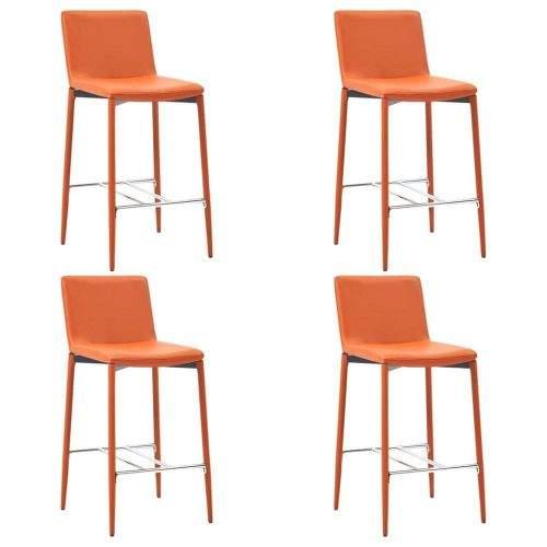 shumee Barové židle 4 ks oranžové umělá kůže