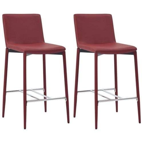 shumee Barové židle 2 ks vínové umělá kůže