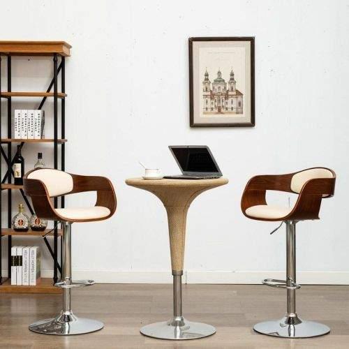 shumee Barová židle krémová ohýbané dřevo a umělá kůže
