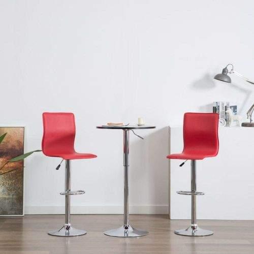 shumee Barové židle 2 ks červené umělá kůže