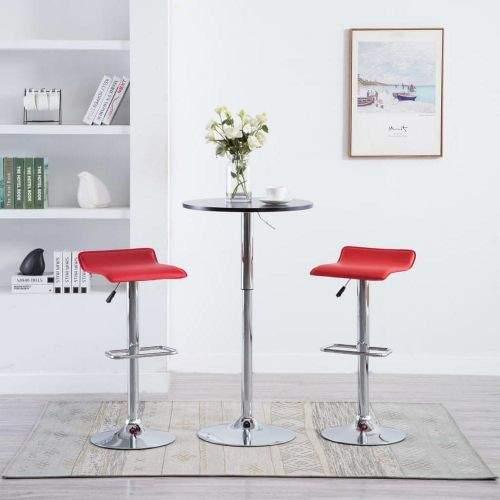 shumee Barové stoličky 2 ks červené umělá kůže