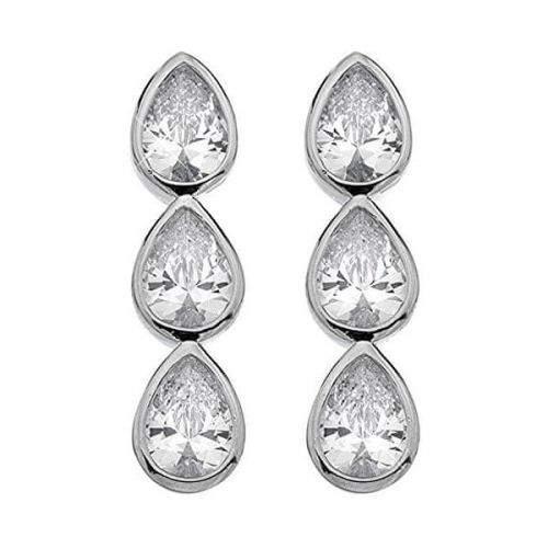 Hot Diamonds Třpytivé stříbrné náušnice Emozioni Acqua Amore EE039