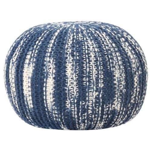 Vidaxl Ručně pletený sedací puf modro-bílý 50 x 35 cm vlna